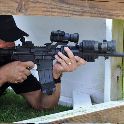 A man shooting at Caswells Shooting Range