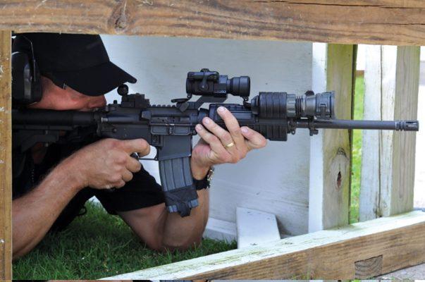 man shooting at Caswells Shooting Range
