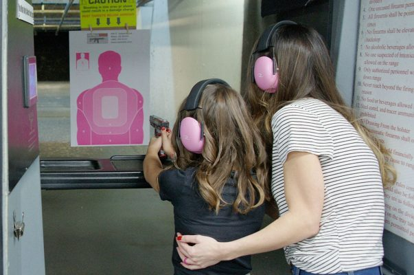 A mother and daughter at Caswells Shooting Range